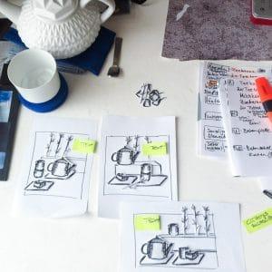 Shootingplan mit Scribbel und Liste
